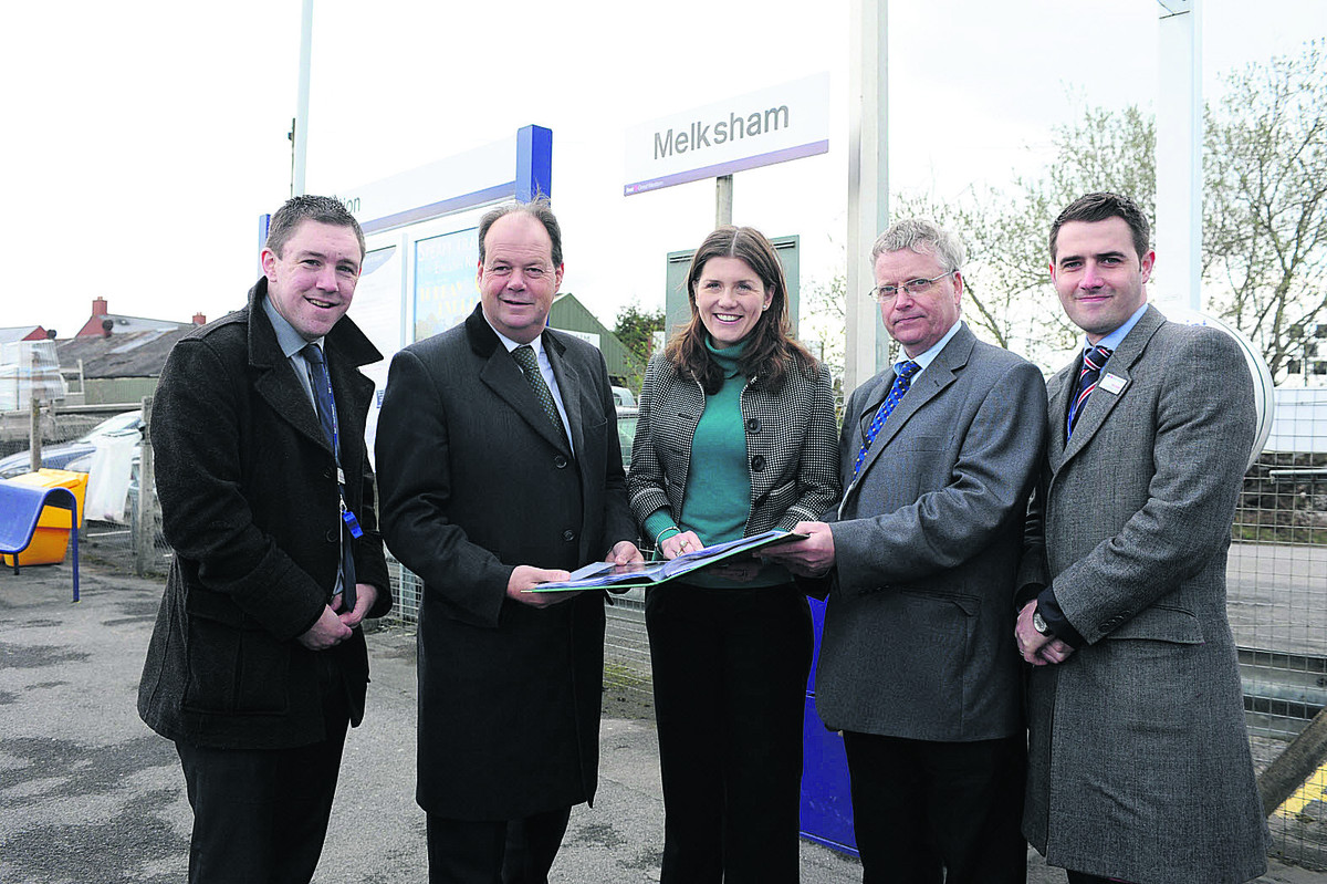 Station manager Nicholas Reid, left, Stephen Hammond Parliamentary Under Secretary of State for Transport, Michelle Donelan, Sion Brettion and Rob Mullen at Melksham station