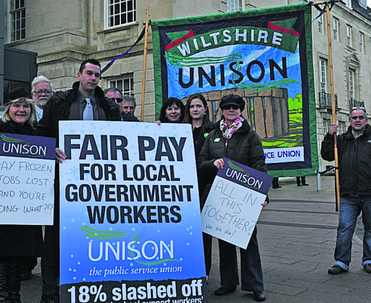 Unison members protest at County Hall, Trowbridge, before the vote over senior councillors' allowances in January