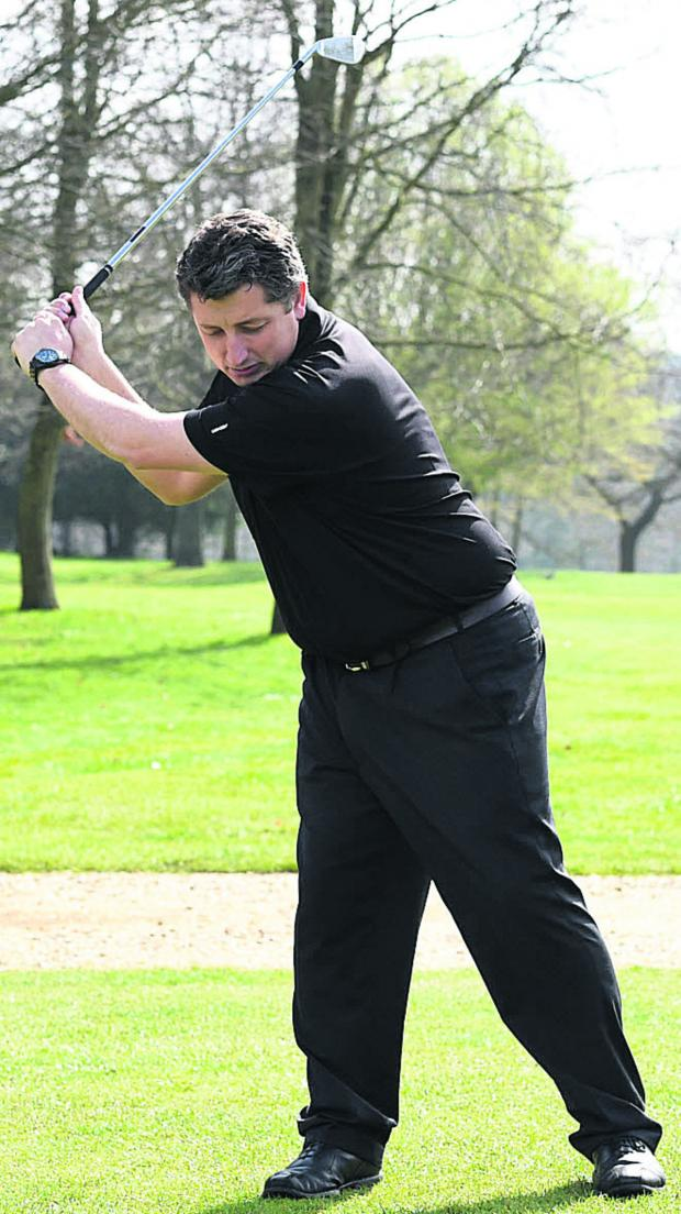 Wiltshire Times: Avoid swaying with your legs in the backswing (above left), instead practicing getting a full shoulder turn (above right)