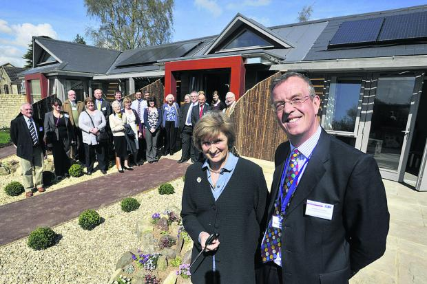 Wiltshire Times: Dorothy House chairman Simon Coombe with Miranda, Duchess of Beaufort, at the opening of the new community care lodges