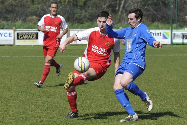 Nick Holton (left) scored Corsham Town's second goal against Calne Town last weekend