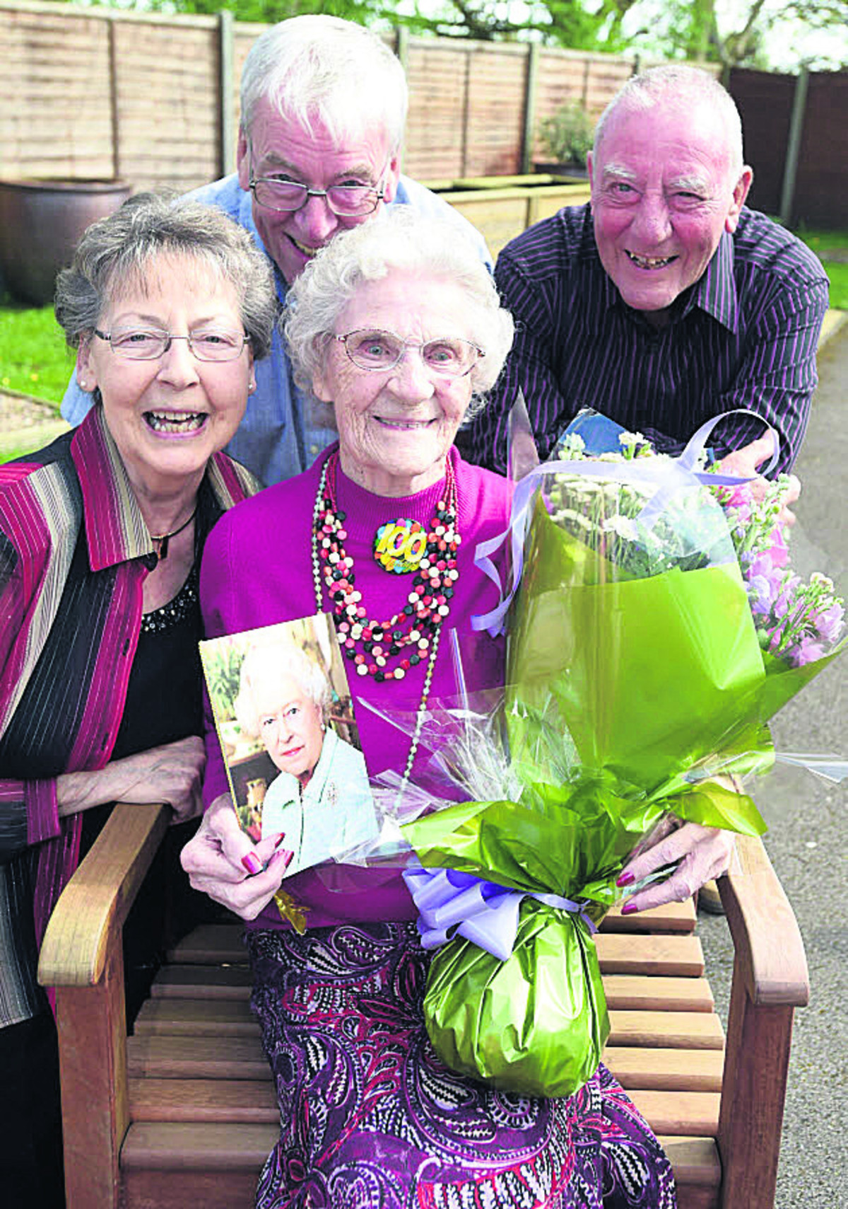 Mabel Humphries celebrates her 100th birthday at Avon Court, Chippenham, with daughter Kay Barnett, Roy and Dave Humphries