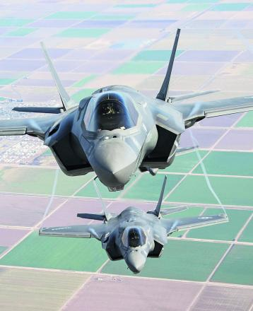 Two F-35 Lightning II go through their paces over southern California