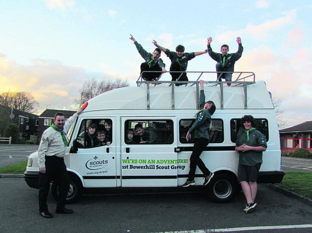 Bowerhill Scouts celebrate the arrival of their new minibus, which they will use for outings and adventures