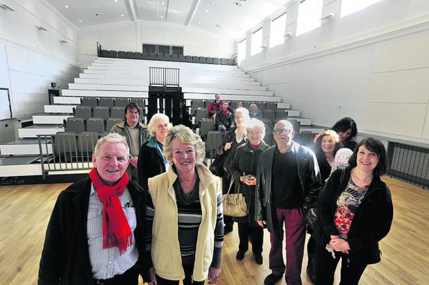 Sue Bolden, chairman of the Bradfordians drama society with Mayor John Potter and Bradfordians members taking a look round the newly refurbished St Margaret's Hall on Wednesday                                              Photo: Glenn Phillips (49301)