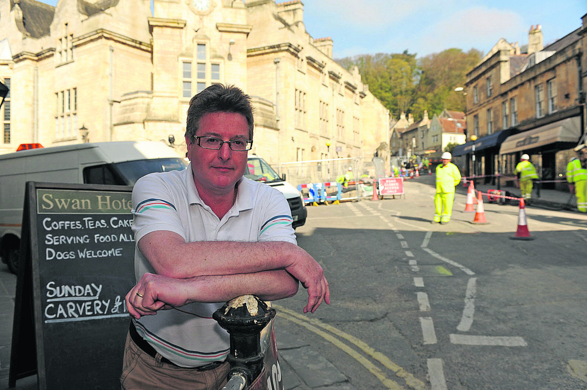 James Sullivan-Tailyour, owner of The Swan Hotel, monitors the jams and loss of business during the current roadworks