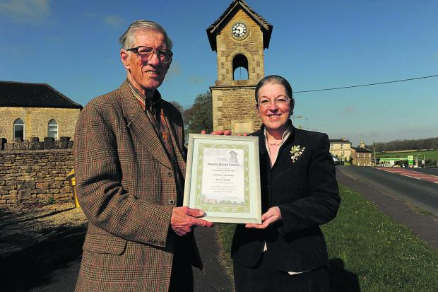 Wiltshire Times: David Webb was given the freedom of the village of Atworth. With him is the chairman of the parish council,  Effie Gale-Sides.  Photo: Trevor Porter (48643)