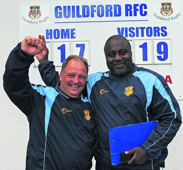 Wiltshire Times: Trowbridge team manager Nobby Knight and head coach Steve Ojomoh celebrate Saturday's semi final win at Guildford  Photo: Trevor Porter (48658-16)
