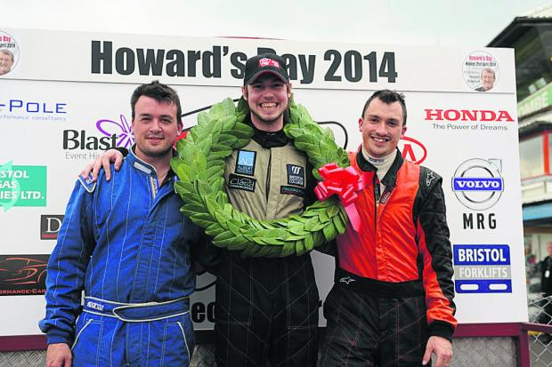Brothers Richard and Adam Higgins third and second either side of Formula Ford race winner Roger Orgee on Easter Monday