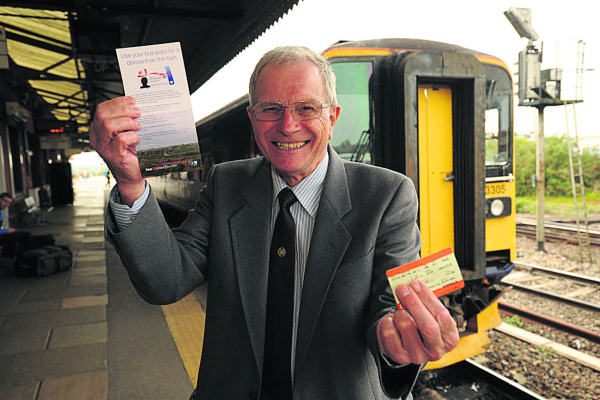 Councillor Horace Prickett promoting the discounted rail tickets for the service between Weymouth and Westbury now available to senior citizens (48655) Photo: Trevor Porter