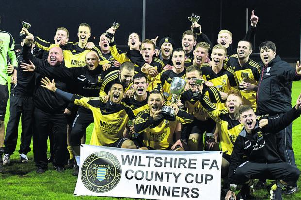 Melksham celebrate their cup victory last night (Picture by Diane Vose)