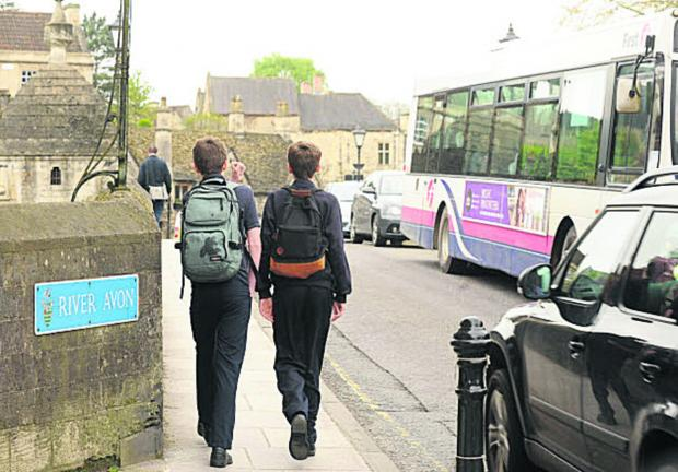 Wiltshire Times: Traffic in Bradford on Avon this morning