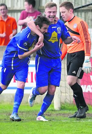 Jake Harris (right) celebrates his second goal against Hungerford with teammate Joe McClennan