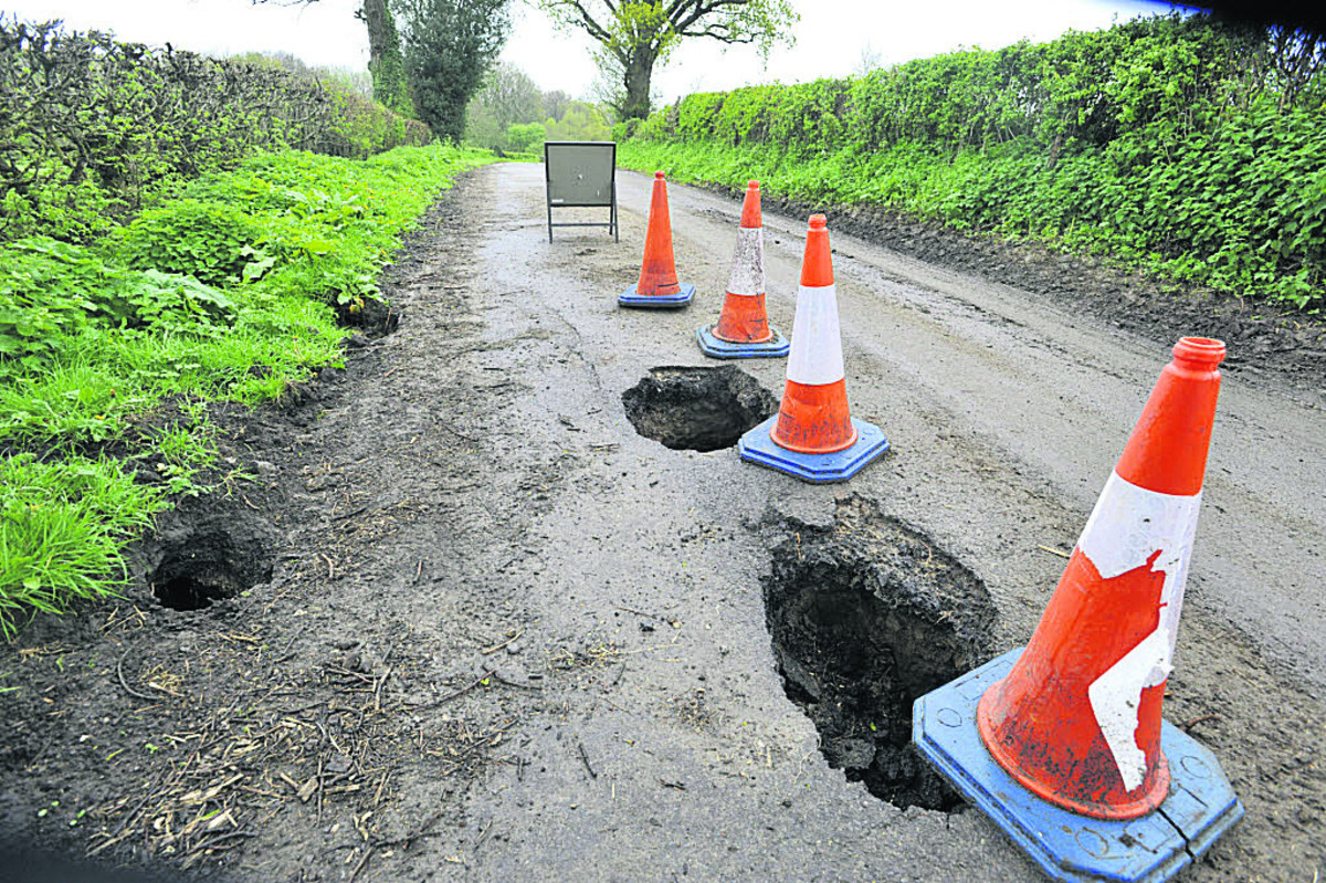 The Corsley road which has been shut since the appearance of holes leading to a badger sett