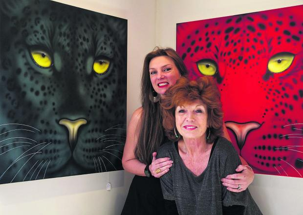 Artist Joanna May with her close friend, actress Rula Lenska, at the exhibition