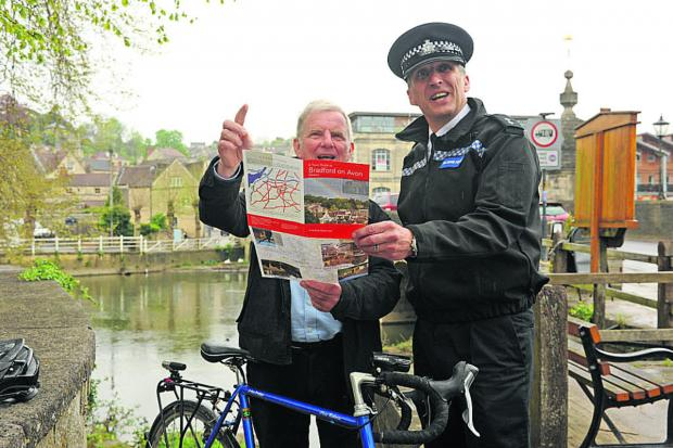 Police Inspector Chris Chammings and mayor John Potter are hoping the cycle route can be altered to come through the town