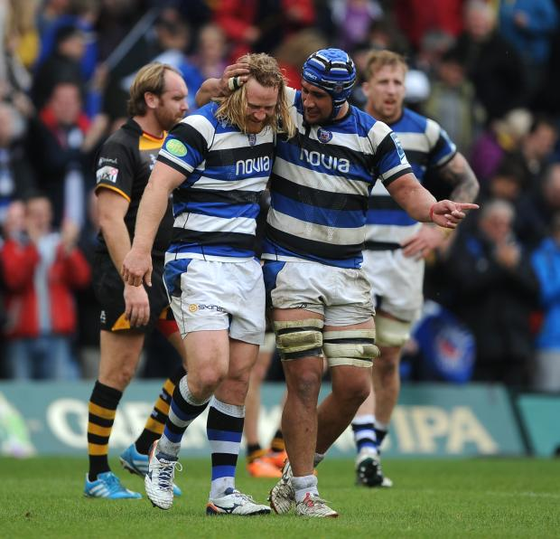 Wiltshire Times: Bath's Ross Batty (left) and Leroy Houston (right) celebrate after the final whistle against Wasps