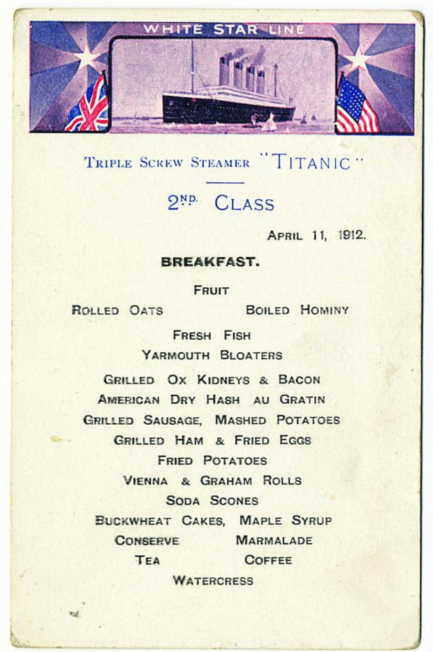 Wiltshire Times: A second class breakfast menu for the Titanic went under the hammer for £87,000 in Devizes