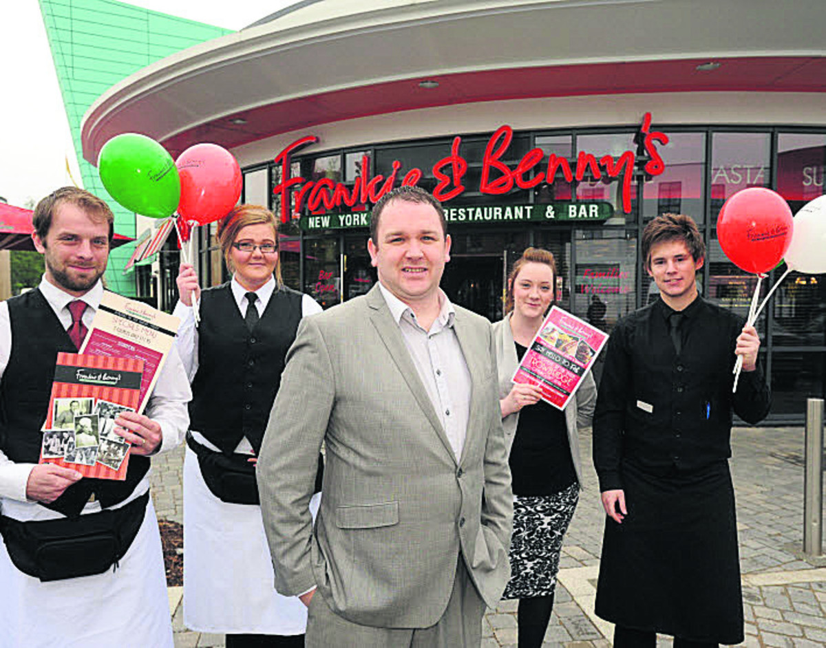 Manager James Bird with, from left, Stuart Taylor, Zara Windsor, assistant manager Jo James and Luke Taylor at Frankie and Benny's restaurant on the St Stephens Leisure Park. (TP48702) Picture by Trevor Porter