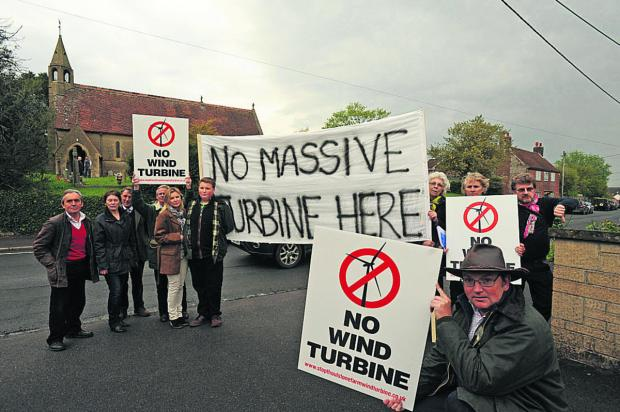 Tim Page and other campaigners against the proposed wind turbines at Chapmanslade