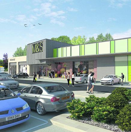 An artist's impression of the proposed M&S Simply Food store The Bridge Centre site in Chippenham