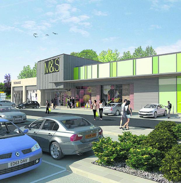 Wiltshire Times: An artist's impression of the proposed M&S Simply Food store The Bridge Centre site in Chippenham
