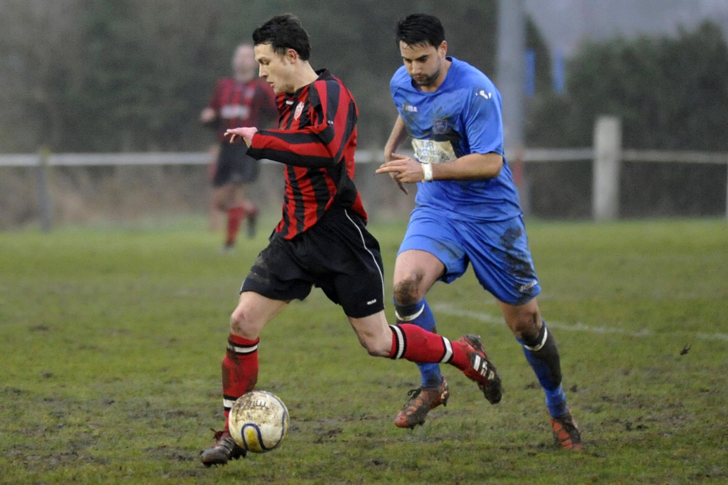 Louis Sparey (left) scored for Warminster Town as they beat Cheddar last night