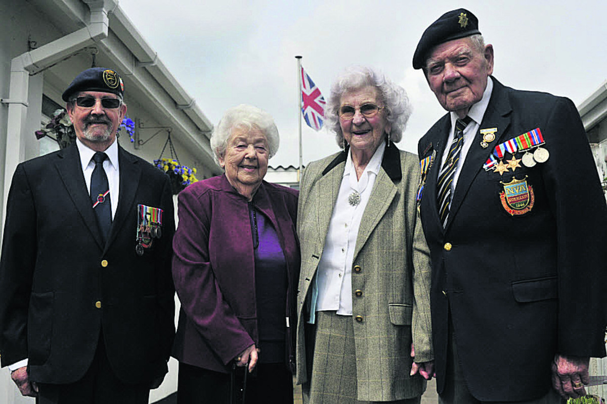 Normandy veterans Bob Conway of Trowbridge, right, and Wally Beall  from Calne and their wives Gwen, centre right, and Jean will be making the trip to France,