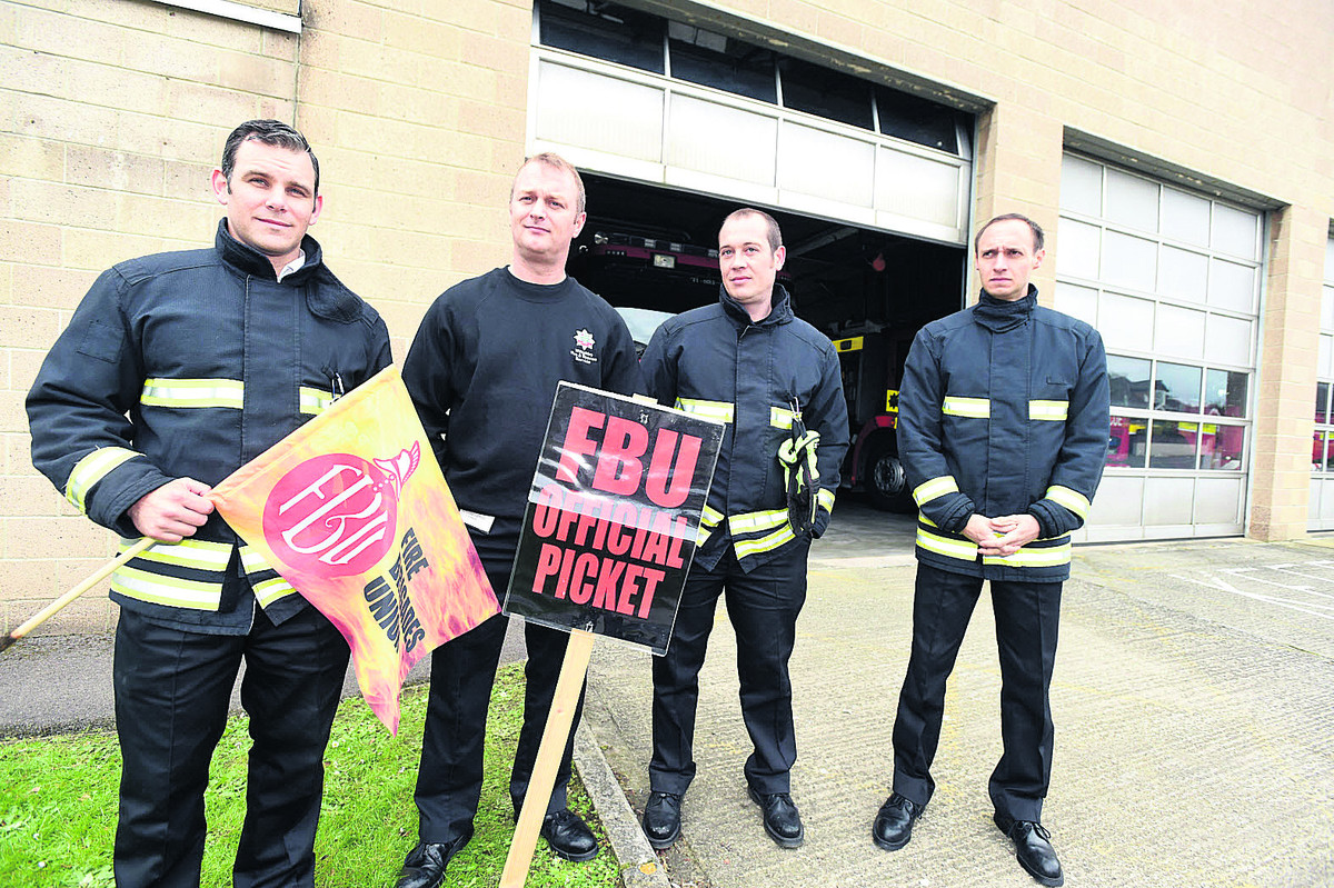 A picket line outside Chippenham Fire Station in May