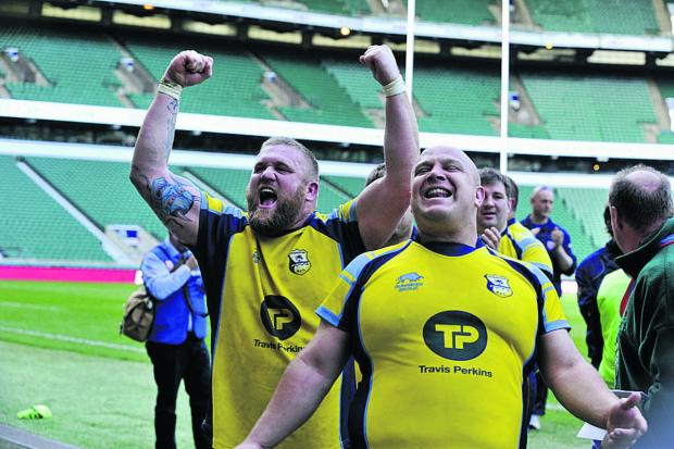 Wiltshire Times: Sean Jones, left, and Sam Edwards celebrate at Twickenham
