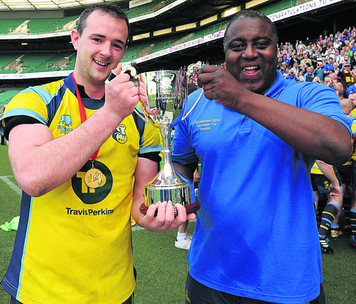 Trowbridge skipper Matt Howard and coach Steve Ojomoh celebrate with the trophy at Twickenham on Sunday (Picture by Trevor Porter)
