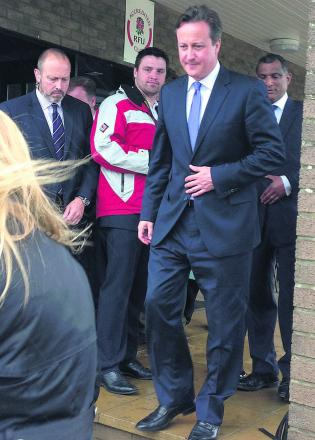 Prime Minister David Cameron at Chippenham Rugby Club today
