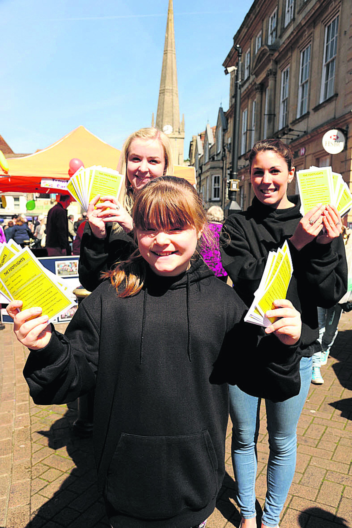 Promoting The Footlights dance group, Ellen Wilkinson, Annie Magill and Katie Osborne.    Photos: Trevor Porter (48732)