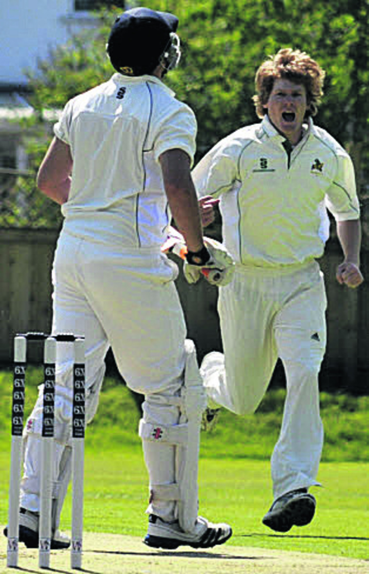 Warminster's Rory Cullinan celebrates the wicket of Jared McDonald