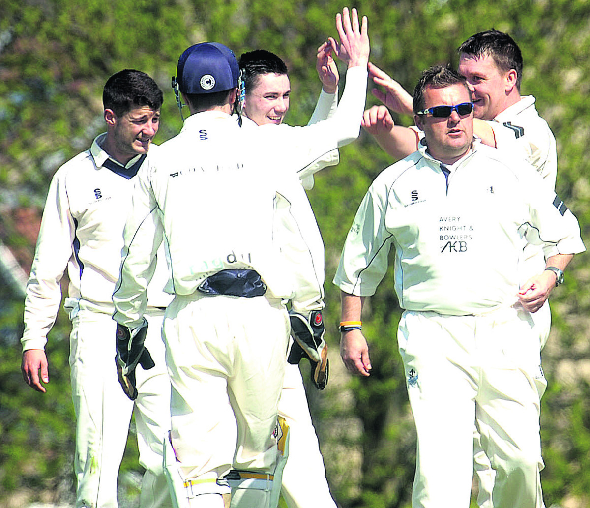 Box celebrate after Dave Crawford captured the wicket of Urchfont's Joe Dorgan during their Division One clash on Saturday