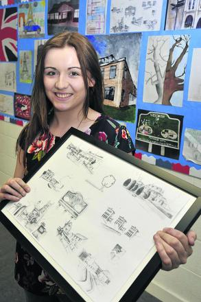 Cara Wallace  has won a prize with her pencil sketch of Melksham landmarks