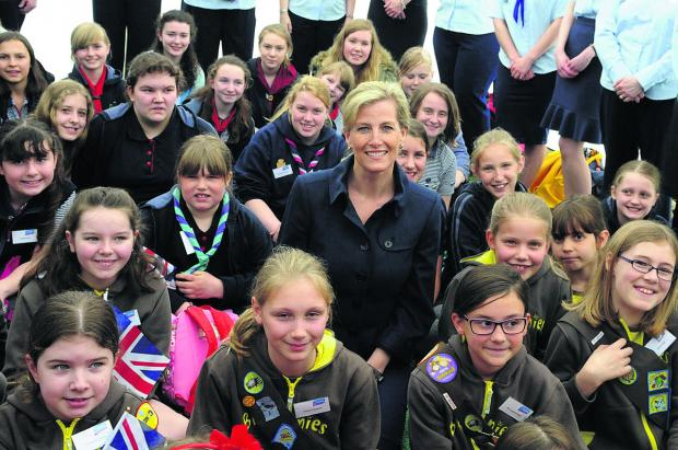 The Countess of Wessex surrounded by the Rainbows, Brownies and Girl Guides