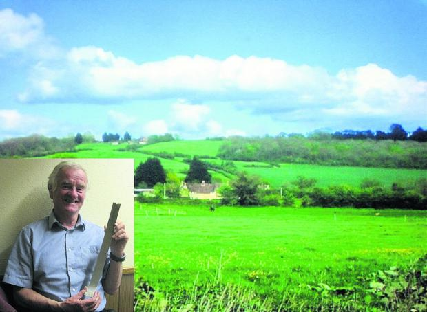 Wiltshire Times: Inset, Paul Moran with the aluminium strap from the B36: main pic, the woods near Lacock where the B36 crashed in 1953