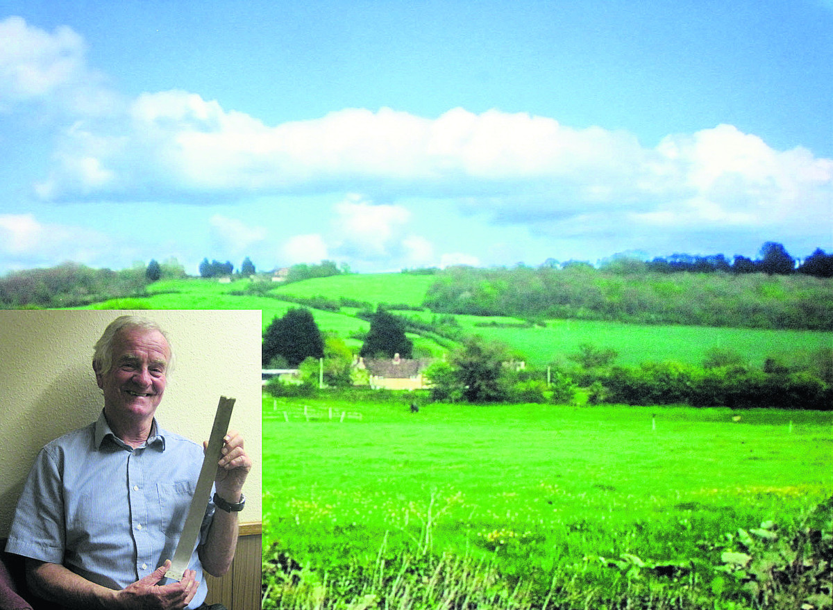 Inset, Paul Moran with the aluminium strap from the B36: main pic, the woods near Lacock where the B36 crashed in 1953