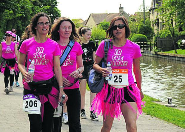 In the Pink fundraisers during the Walk of Life along the Kennet and Avon Canal towpath