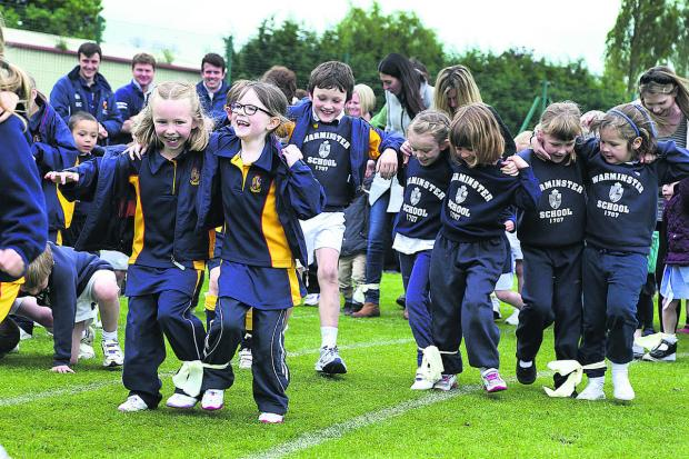 Laughing their way to a potential record are pupils at Warminster Preparatory school taking part in a national event