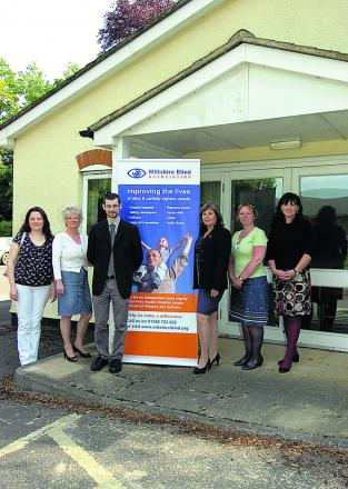Wiltshire Blind Association outside its new headquarters. From left, Julia Shaw, Maggie Hemmings, Tom Cooper, Annie Davis, Theresa McMordie and Alison Forrest outside the former register office in Devizes