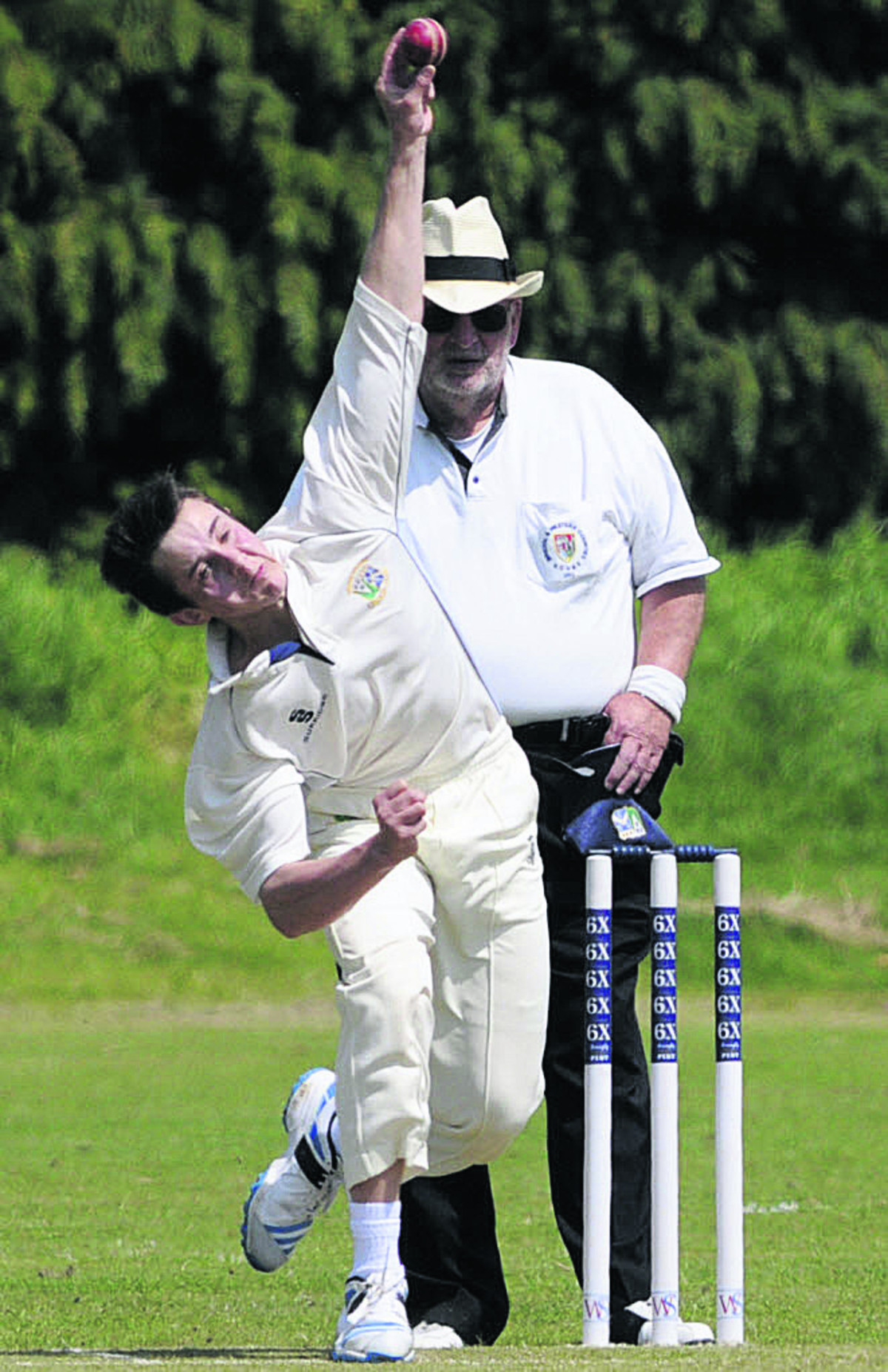 Trowbridge's Luke Seymour bowls during Saturday's defeat against Marlborough