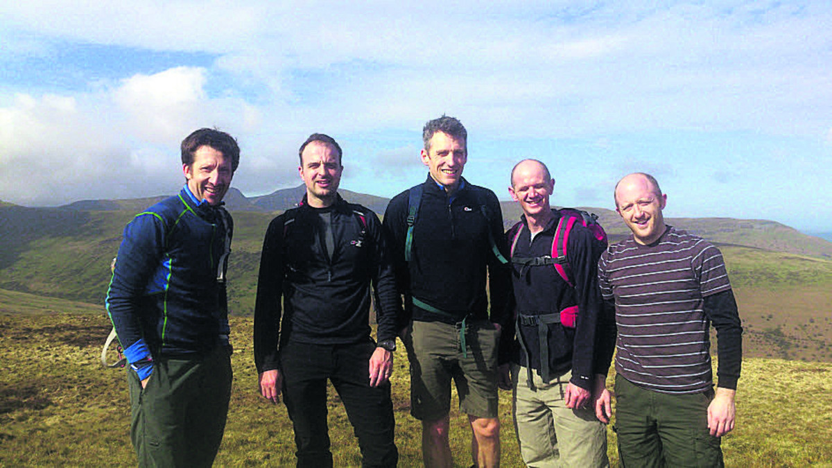 From left, Dan Jones, James Vaughton, John Fuggle, Dave Joyce and Tom Vaughton, training on the Brecon Beacons ahead of their challenge next month