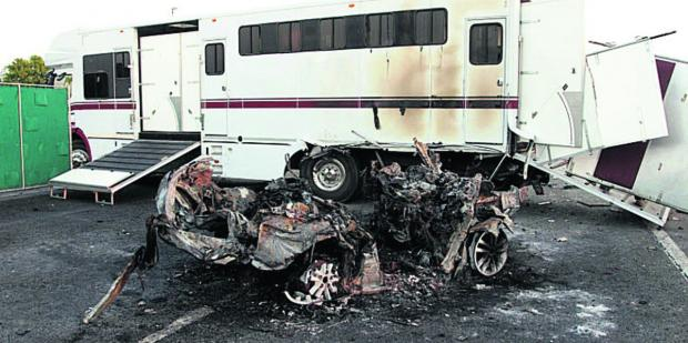 Wiltshire Times: The horsebox and one of the cars involved in the pile-up; inset, left, owner William Harrison-Allan and, right, trainer Brian Meehan