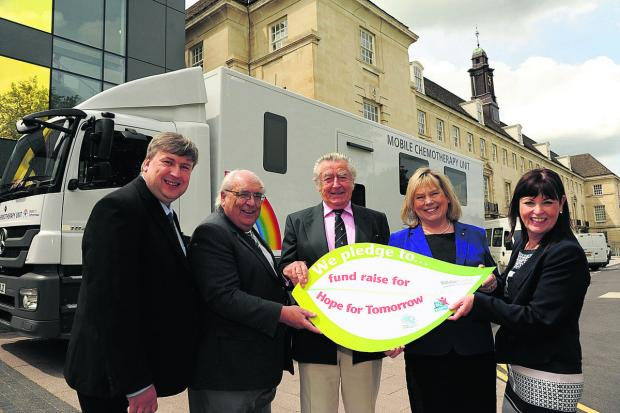 Launching the appeal are, from left, Coun Jon Hubbard,  Coun Keith Humphries, Patrick Barnard, trustee for Hope for Tomorrow, Coun Jane Scott and Maggie Rae, corporate director