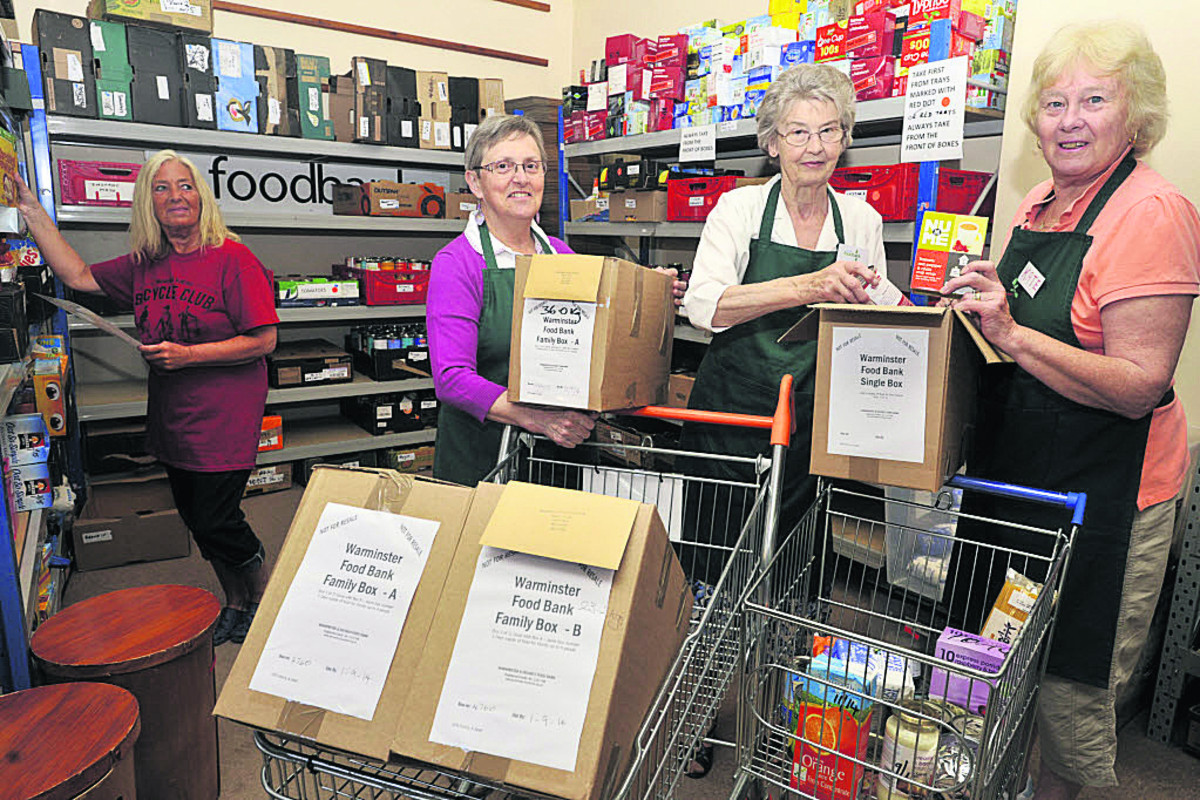 Volunteers Olga Douglas, Mo Cheesman, Margaret Manning and Kate Skillmar at the Warminster Foodbank