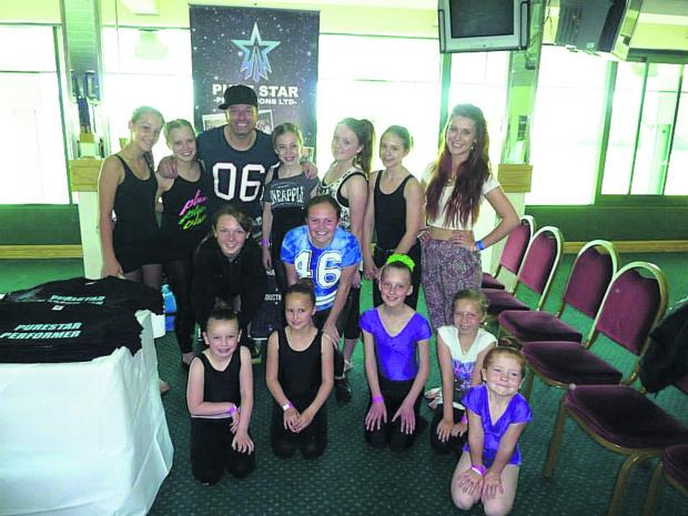 Wiltshire Times: Tim Noble and dancers from Lindsay Howard Academy of Dance with their teacher, Emma-Jane Bramwell-Chivers
