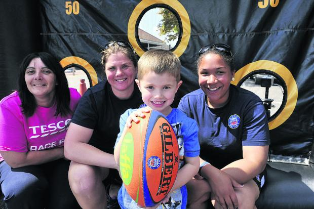 A 'scrum-down' at Trowbridge as kids try out rugby skills