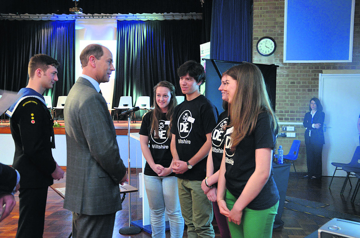 From left, Caitlin Barber, Josh Brackstone, Sarah Clifton and Isabel Slark meet Prince Edward